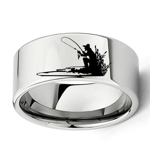 Fisherman Engraved Silhouette Ring for Fishing Lovers 11mm Flat Mens Tungsten Carbide