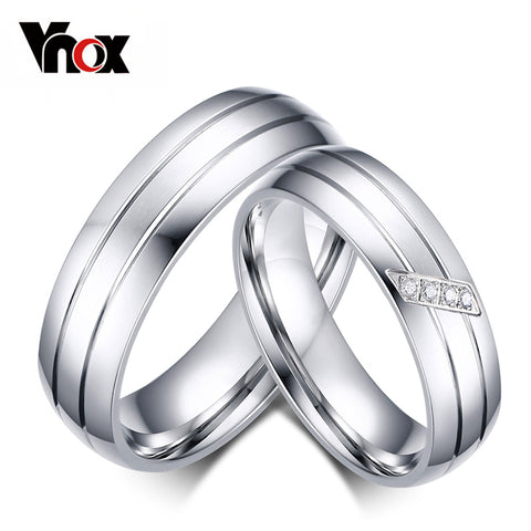 Vnox Fashion Wedding Rings Stainless Steel Ring Female Male Promise Ring Cubic Zirconia Couple