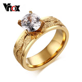 Fashion Engagement Ring For Women Dull Polish Stainless Steel Wedding Ring Prong Setting Female Cubic Zirconia