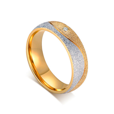 Vnox Couple Engagement Ring For Women Men Sand Blasted Gold Color