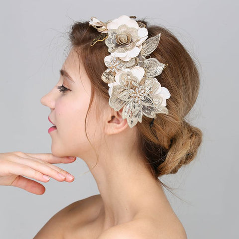 Leaves Crystal Pearl Headbands White Flower Head Piece Bride Vintage