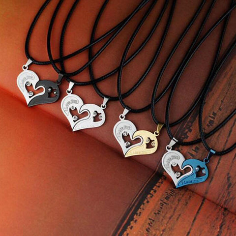 1 set Unisex Girlfriend & Boyfriend - I Love You Heart Shape Pendant Necklace For Lovers Couples Jewelry Gift