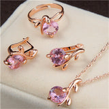Bridal Wedding Jewelry Sets Charm Crystal Round Pendant Necklaces Earrings Zircon
