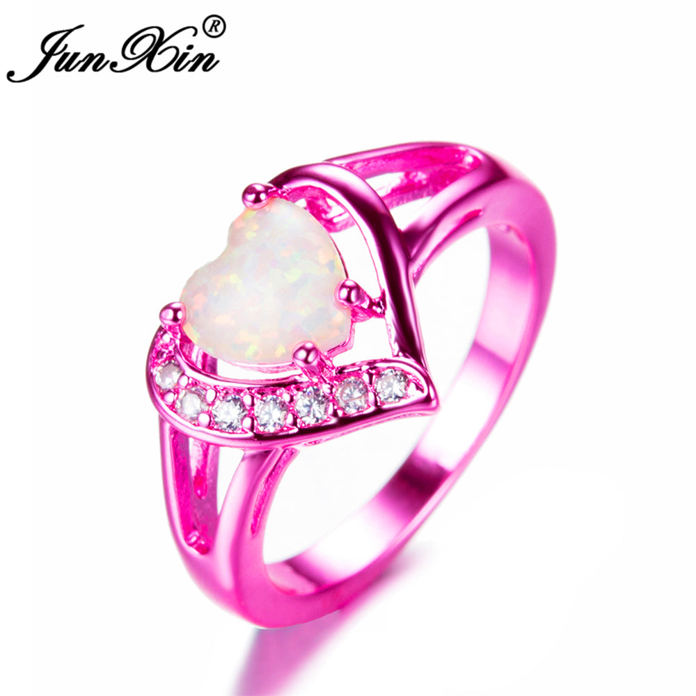 cute product zirconia rings promise ring shaped pink cubic heart