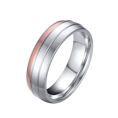 Vnox Trendy Wedding Ring Titanium Steel Female Male Promise Finger