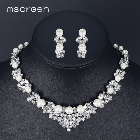 Simulated Pearl Bridal Silver Color Leaf Crystal Necklaces & Earrings Wedding Jewelry Set
