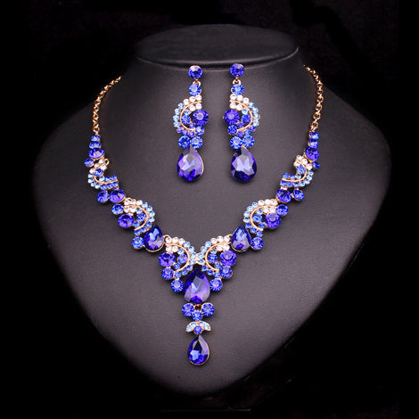 Crystal Wedding Jewelry Sets For Bride Party Costume Accessories