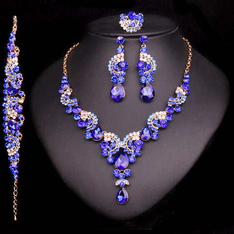 Crystal Wedding Jewelry Sets For Bride Party Costume Accessories Necklace & Earring Set