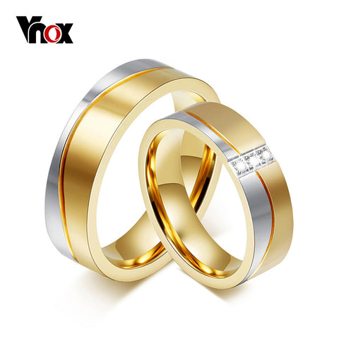 Vnox 1 Pair Wedding Ring Set for Couple Gold Color Stainless Steel ...