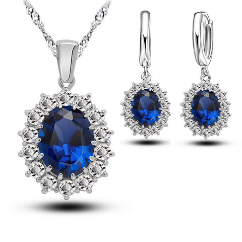Bridal Wedding Women Crystal 925 Sterling Silver Blue Cubic Zircon Earrings & Necklace Jewelry Sets