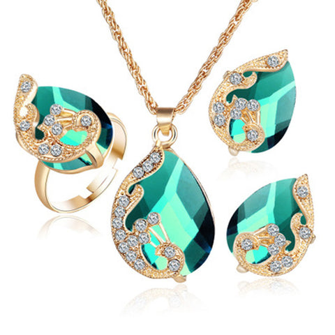 Gold color Austrian peacock three-piece crystal zircon water drop - pendant necklace - earring - ring set