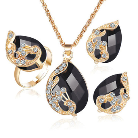 ef3732ea38b2ac Gold color Austrian peacock three-piece crystal zircon water drop - pendant  necklace - earring - ring set | Blue Lion Jewels