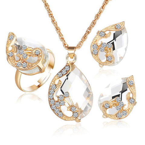 ... Gold color Austrian peacock three-piece crystal zircon water drop - pendant  necklace - earring f25f5064f98e