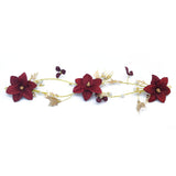 Gold Butterfly Garland Headbands Tiara Crown Red Flower Pearls Hair Piece Bridal Wedding Hair Accessories