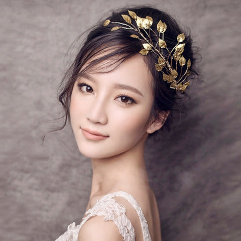 Bridal Wedding Hair Accessories Gold Metal leaves Tiara Bride Headband Clips Hairband Hair Jewelry