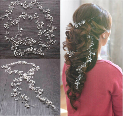 Baroque Long Leaf Crystal Pearl Tiara Crown Head Wedding Hair Accessories Jewelry