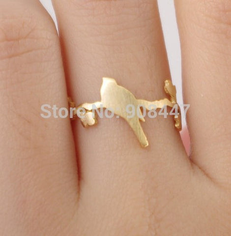 Rings - 1 PCS-R99 Hot Sale Cute Bird On Leaf Branch Ring Animal Plant Rings