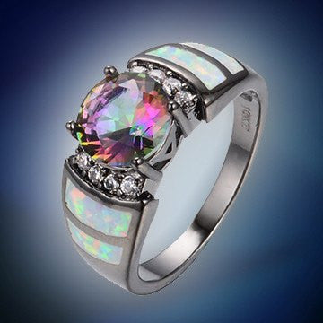 Rings - 10KT Black Gold Filled Rainbow Opal Ring - 50% OFF Sale