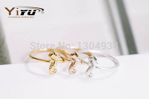 Rings - 1pc Lovely Sea Horse Pattern Cute Tiny Seahorse Animal Finger Midi Gold Silver Rose Gold Simple Ring