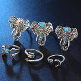 Rings - 6PCS/LOT Turkish Vintage Steampunk Elephant Moon Midi Ring Set Anillos Bohemian Knuckle Anelli Rings