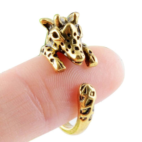 Rings - Animal Copper Jewelry Antique Gold Silver Rings Giraffe Animal Wrap Ring