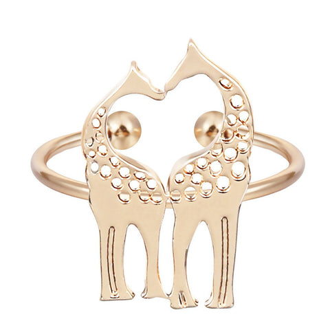 Rings - Min 1 Pc Adjustable Giraffe Ring Aniamdl Band Women Jewelry Sweet Romantic Gift Best Jewelry