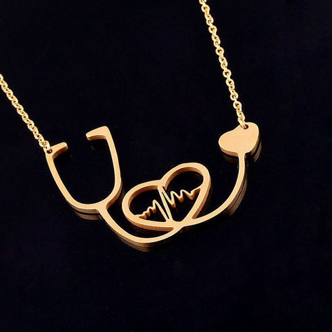 480ce8a2a04 ... Rose Gold Silver Nurse Doctor Medical Stethoscope Chain Necklace Bijoux  Collier Femme Heartbeat I ...