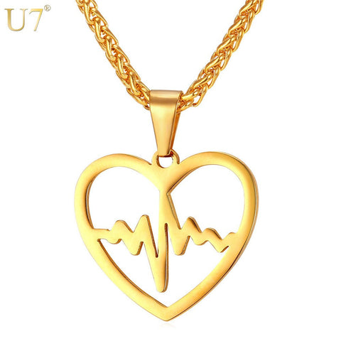 U7 Heartbeat Necklace & Pendant For Women Trendy Gold Plated Stainless Steel Heart Rate Electrocardiogram Lover Jewelry P830