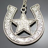 Western Cowgirl Horse Shoe CZ Texas Shooting Star Chain Rodeo Bib Necklace Jewelry 2017 New