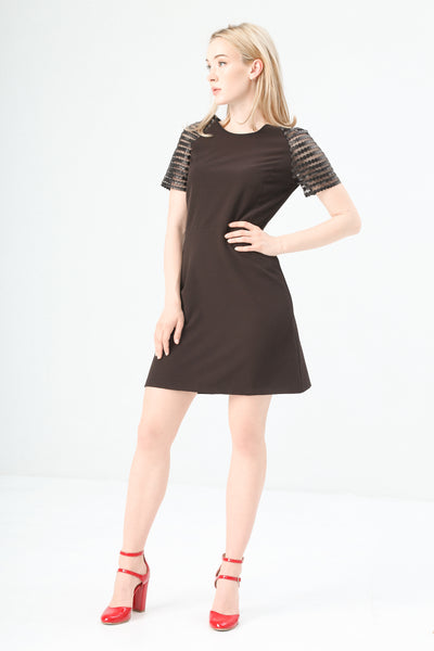 Fontana 2.0 Black Women Dresses. Round neckline, half sleeves