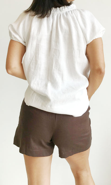 chocolate linen pants with big pockets