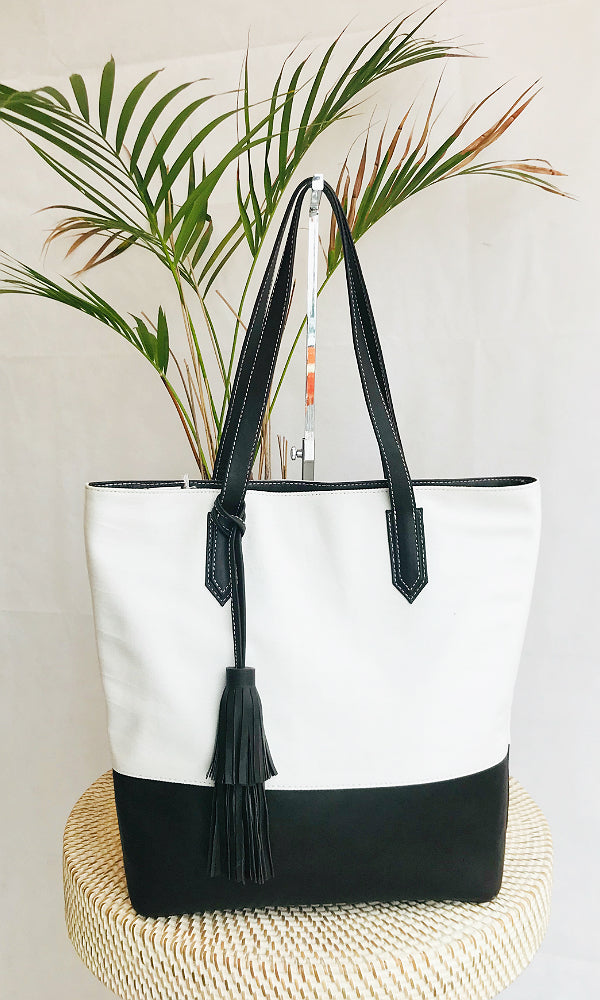 chocolate leather canvas shoulder tote