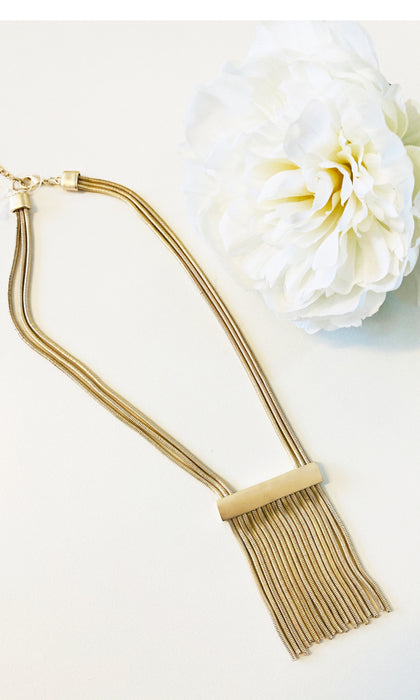 FRINGE N'LACE- Gold Fringe Necklace