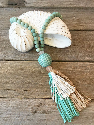 GALLEN- Glass / Suede tassel necklace