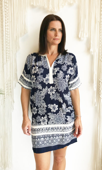 floral tunic dress with contrast lace detail