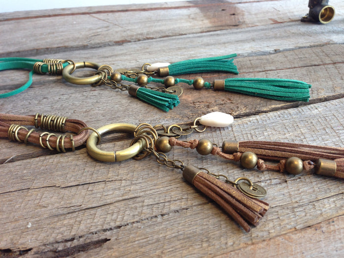 tassel leather necklace