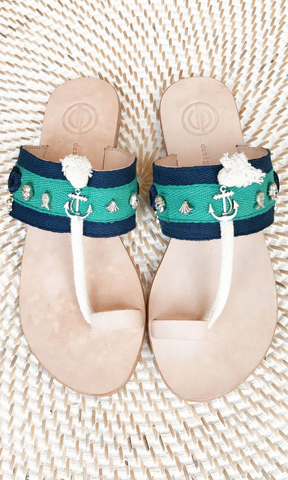 MIKO- Aqua Nautical Leather Sandal