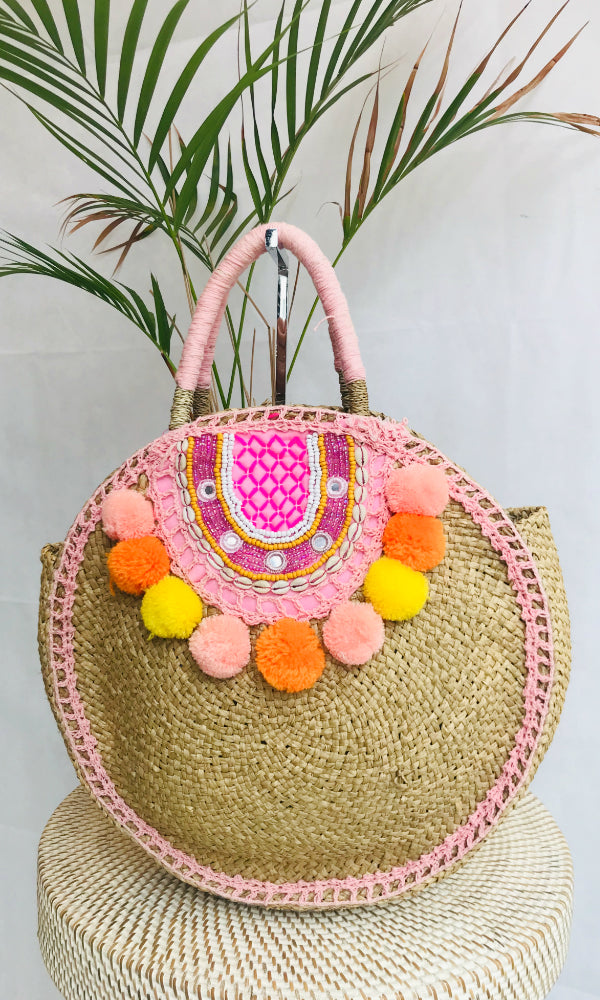 Round woven mandala bag with beads