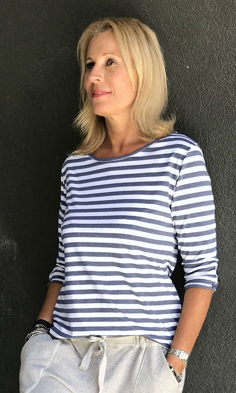 white blue boat neck stripe top with long sleeves