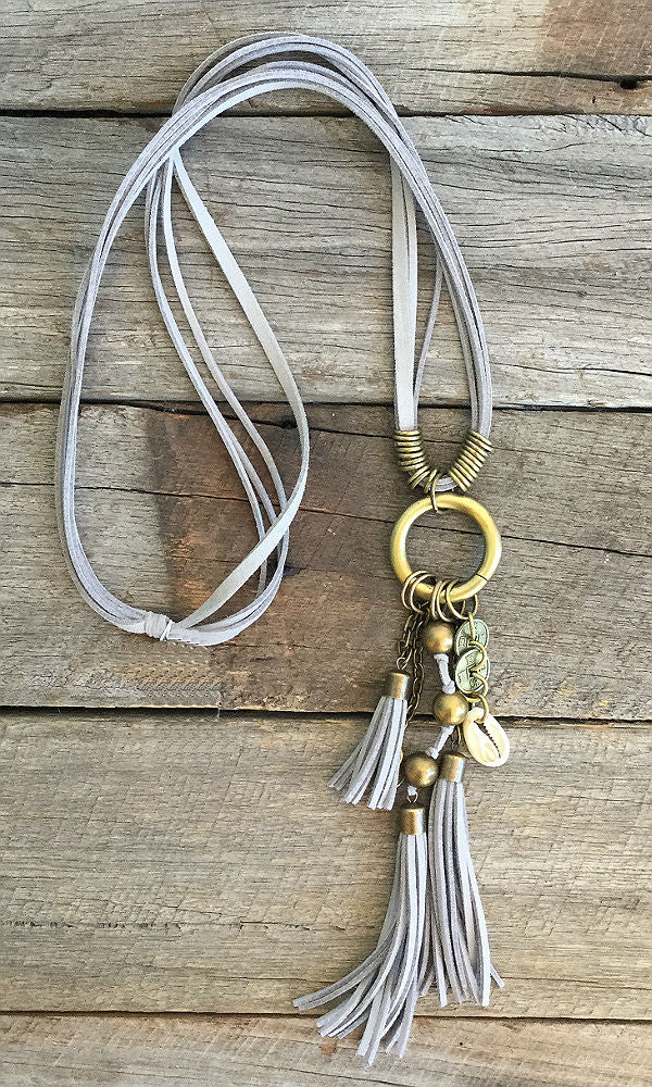 SHELLS- Grey Tassel & Shell Necklace
