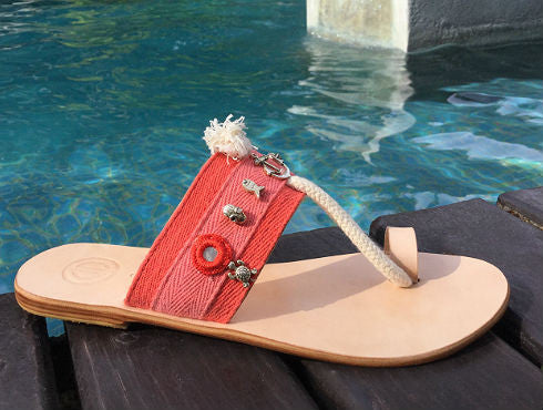 MIKO- Coral Nautical Leather Sandal