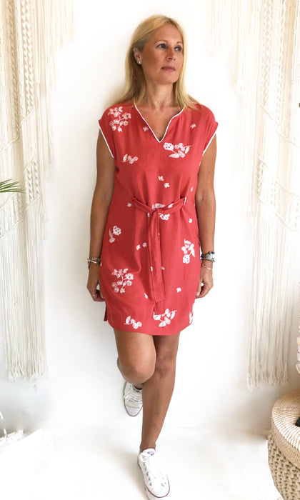 floral front tie shift dress