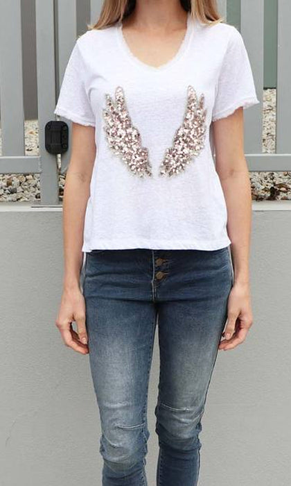 ANGEL WINGS- Embellished Tee