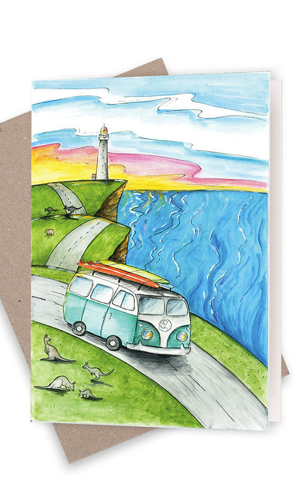 driving down the coast greeting card