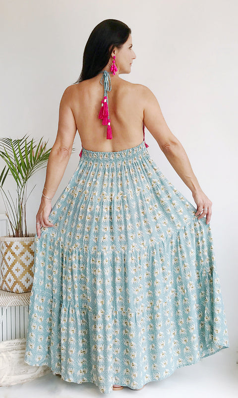 green and fushia elephant print triangle halter maxi dress with fringe detail