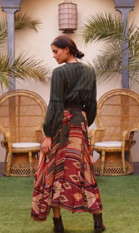 TERRACOTTA- Tribal Print Maxi Skirt