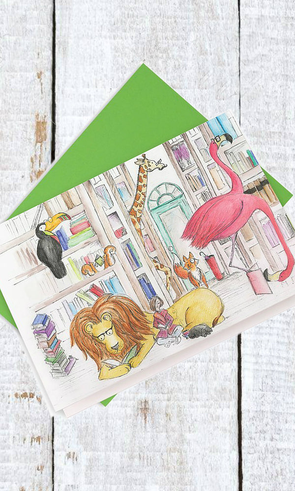 the magical bookshop greeting card