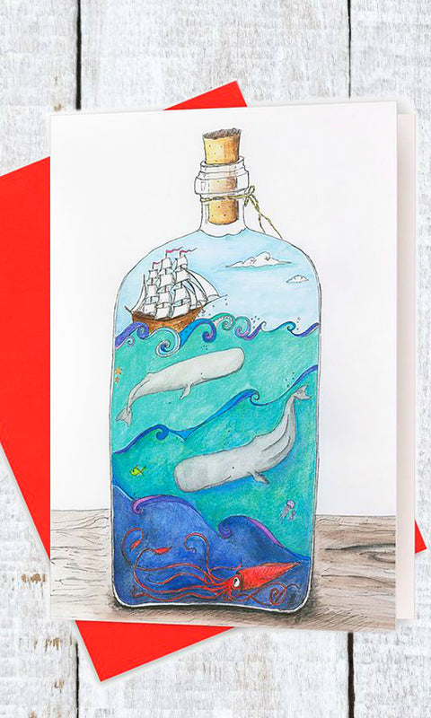 deep blue sea ocean in a bottle greeting card