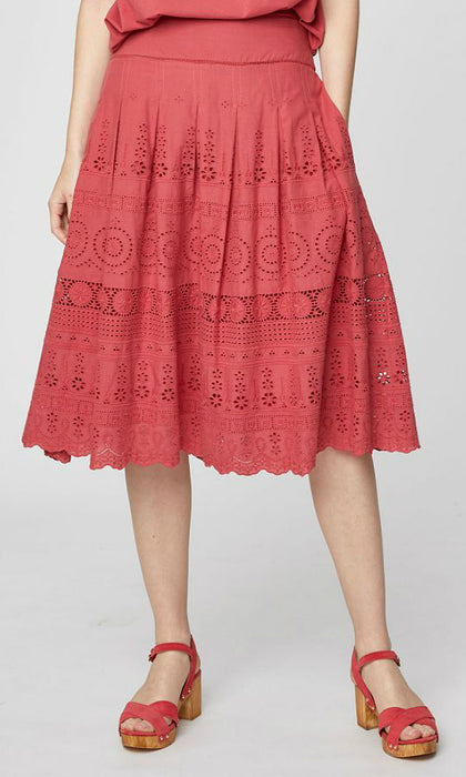 BRIONY- Embroidered Midi Skirt