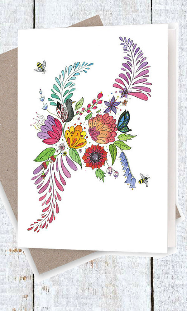 FLORAL WITH BIRD- Bird, Bees and Butterflies